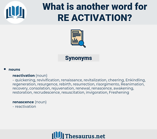 re-activation, synonym re-activation, another word for re-activation, words like re-activation, thesaurus re-activation
