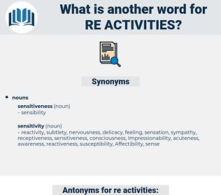 re activities, synonym re activities, another word for re activities, words like re activities, thesaurus re activities