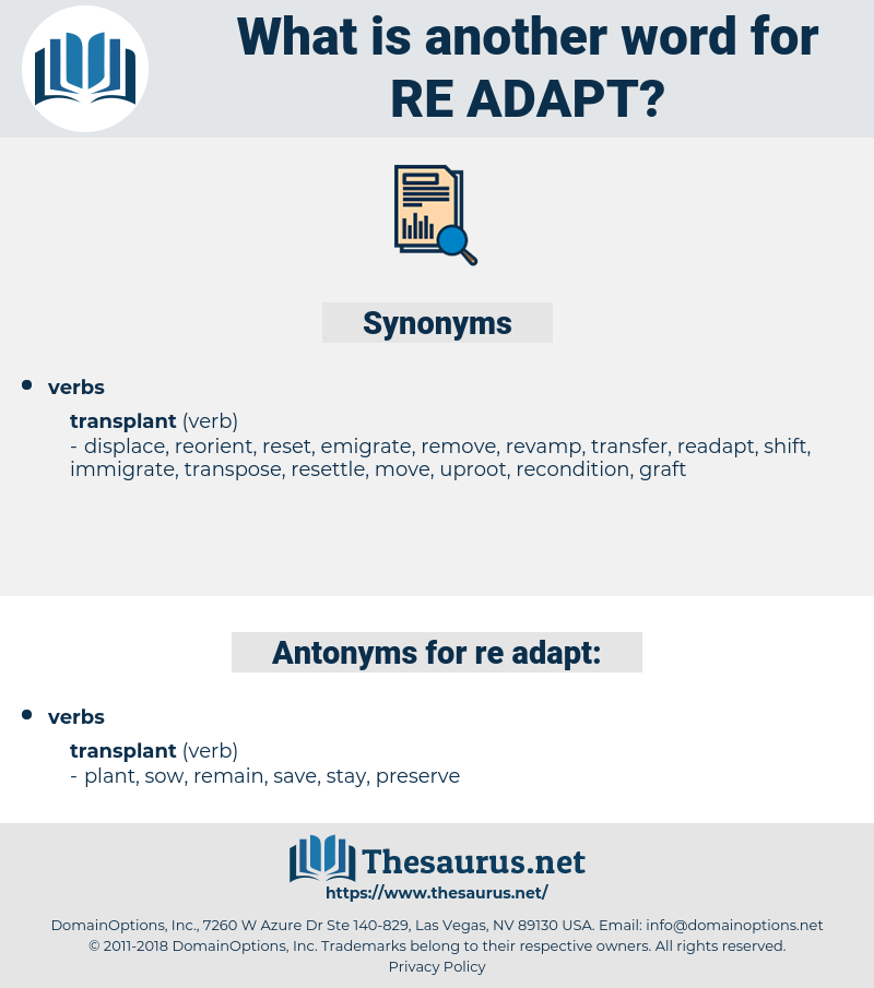 re adapt, synonym re adapt, another word for re adapt, words like re adapt, thesaurus re adapt