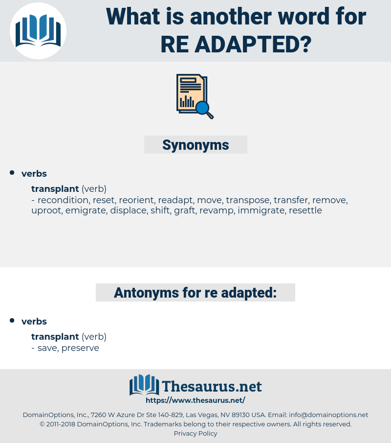 re adapted, synonym re adapted, another word for re adapted, words like re adapted, thesaurus re adapted
