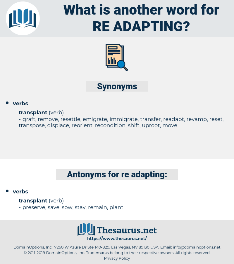 re adapting, synonym re adapting, another word for re adapting, words like re adapting, thesaurus re adapting