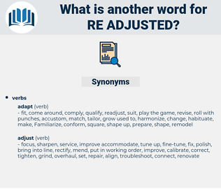 re-adjusted, synonym re-adjusted, another word for re-adjusted, words like re-adjusted, thesaurus re-adjusted