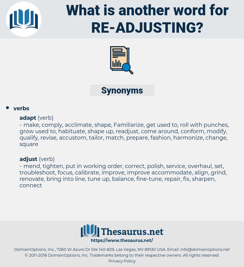 re-adjusting, synonym re-adjusting, another word for re-adjusting, words like re-adjusting, thesaurus re-adjusting