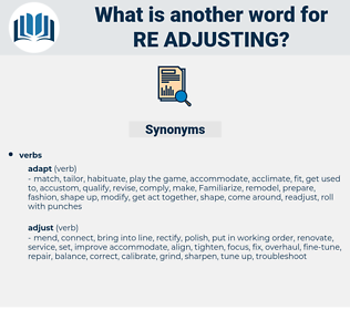re adjusting, synonym re adjusting, another word for re adjusting, words like re adjusting, thesaurus re adjusting