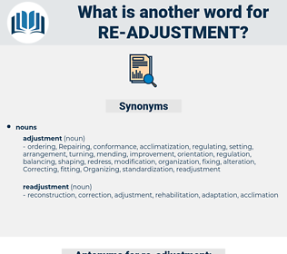re adjustment, synonym re adjustment, another word for re adjustment, words like re adjustment, thesaurus re adjustment