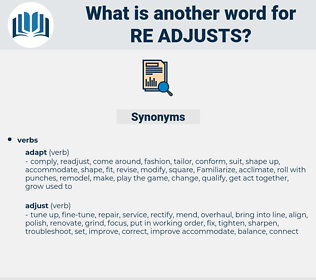 re adjusts, synonym re adjusts, another word for re adjusts, words like re adjusts, thesaurus re adjusts