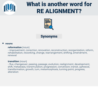 re-alignment, synonym re-alignment, another word for re-alignment, words like re-alignment, thesaurus re-alignment