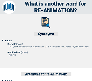 re animation, synonym re animation, another word for re animation, words like re animation, thesaurus re animation