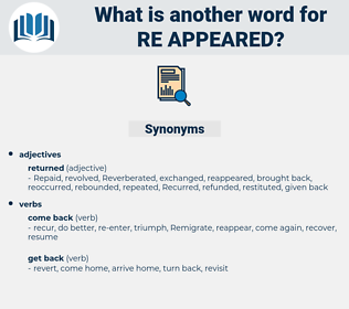 re appeared, synonym re appeared, another word for re appeared, words like re appeared, thesaurus re appeared