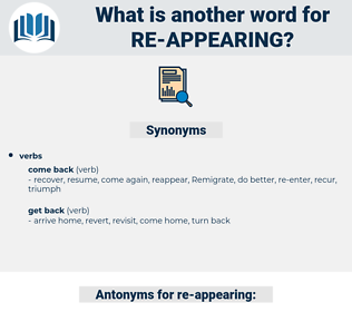 re-appearing, synonym re-appearing, another word for re-appearing, words like re-appearing, thesaurus re-appearing