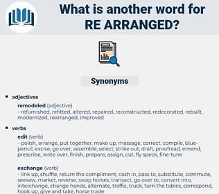 re-arranged, synonym re-arranged, another word for re-arranged, words like re-arranged, thesaurus re-arranged