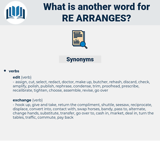 re-arranges, synonym re-arranges, another word for re-arranges, words like re-arranges, thesaurus re-arranges