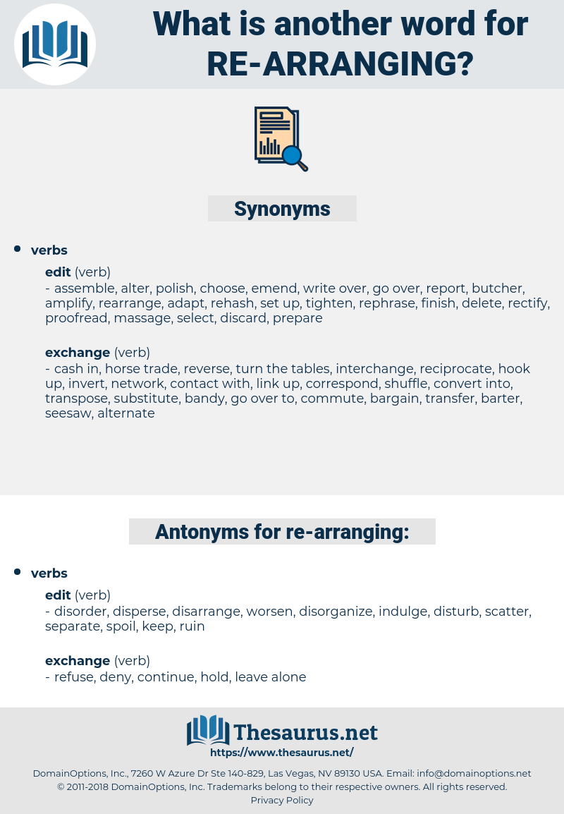 re-arranging, synonym re-arranging, another word for re-arranging, words like re-arranging, thesaurus re-arranging