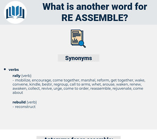 re-assemble, synonym re-assemble, another word for re-assemble, words like re-assemble, thesaurus re-assemble