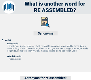 re assembled, synonym re assembled, another word for re assembled, words like re assembled, thesaurus re assembled