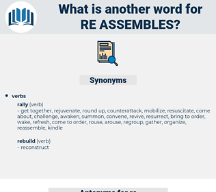 re-assembles, synonym re-assembles, another word for re-assembles, words like re-assembles, thesaurus re-assembles
