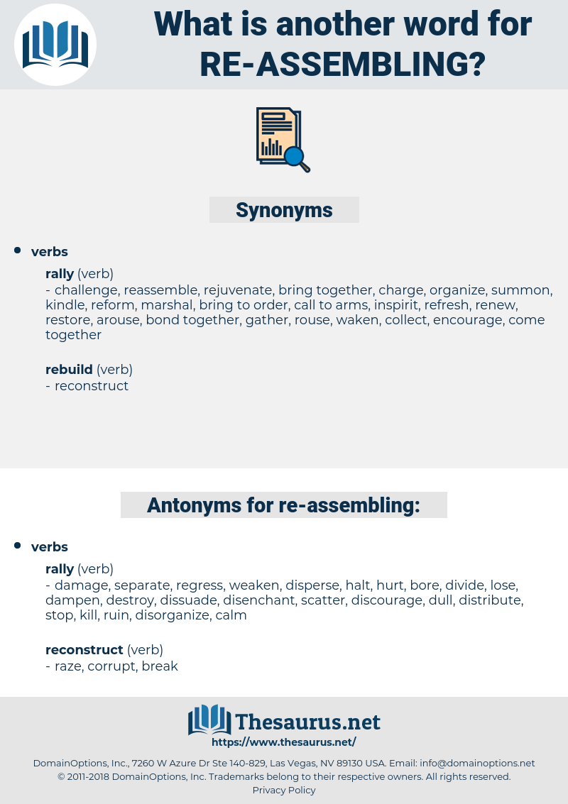 re assembling, synonym re assembling, another word for re assembling, words like re assembling, thesaurus re assembling