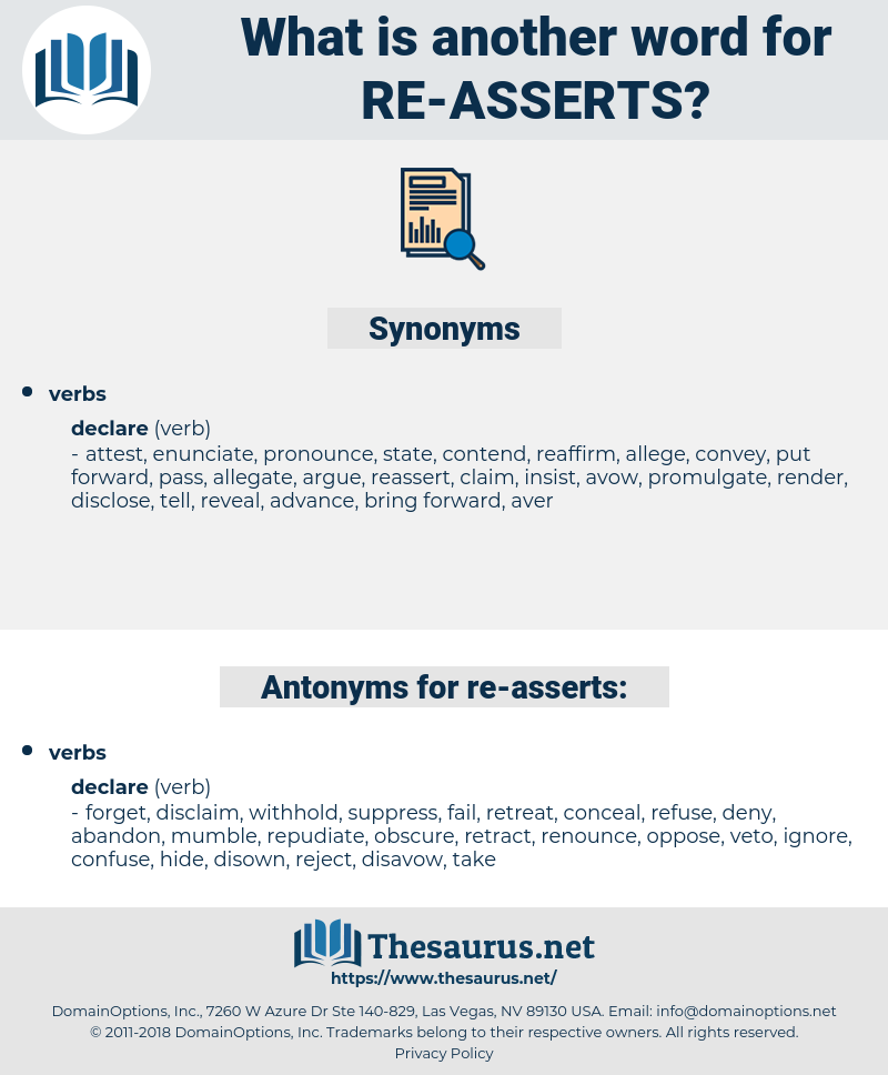 re asserts, synonym re asserts, another word for re asserts, words like re asserts, thesaurus re asserts