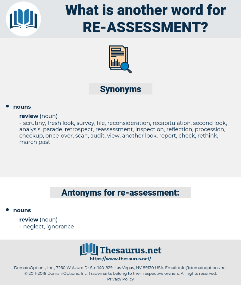 re assessment, synonym re assessment, another word for re assessment, words like re assessment, thesaurus re assessment