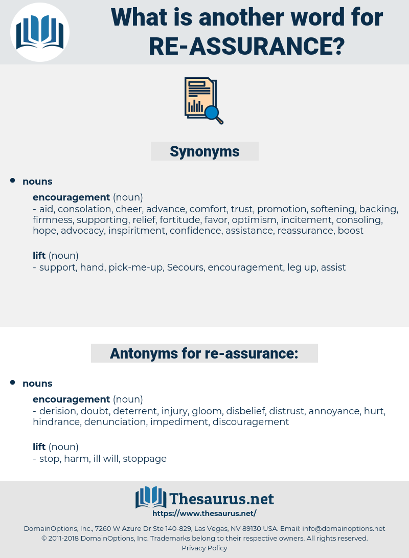 re-assurance, synonym re-assurance, another word for re-assurance, words like re-assurance, thesaurus re-assurance