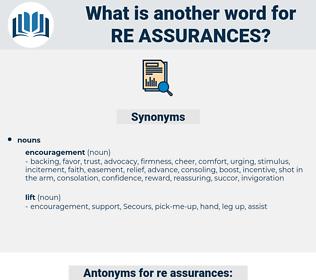 re-assurances, synonym re-assurances, another word for re-assurances, words like re-assurances, thesaurus re-assurances