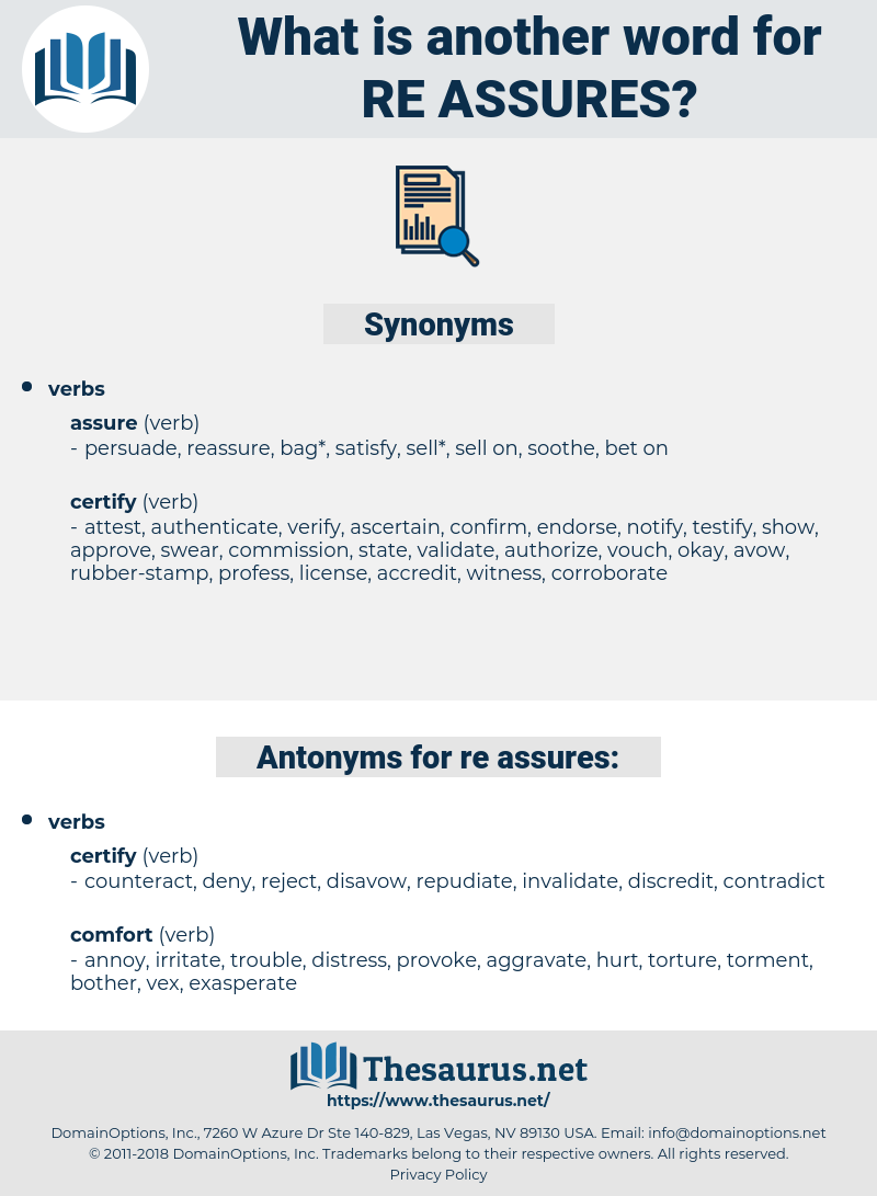 re-assures, synonym re-assures, another word for re-assures, words like re-assures, thesaurus re-assures