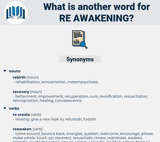 re-awakening, synonym re-awakening, another word for re-awakening, words like re-awakening, thesaurus re-awakening