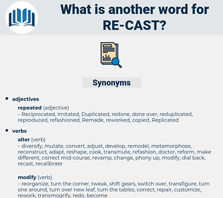 re-cast, synonym re-cast, another word for re-cast, words like re-cast, thesaurus re-cast