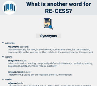 re-cess, synonym re-cess, another word for re-cess, words like re-cess, thesaurus re-cess