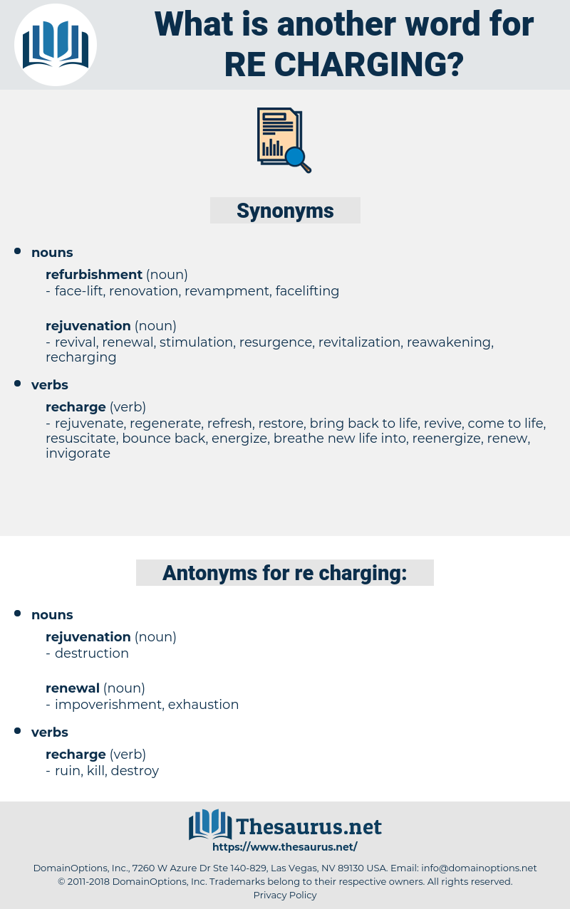 re charging, synonym re charging, another word for re charging, words like re charging, thesaurus re charging