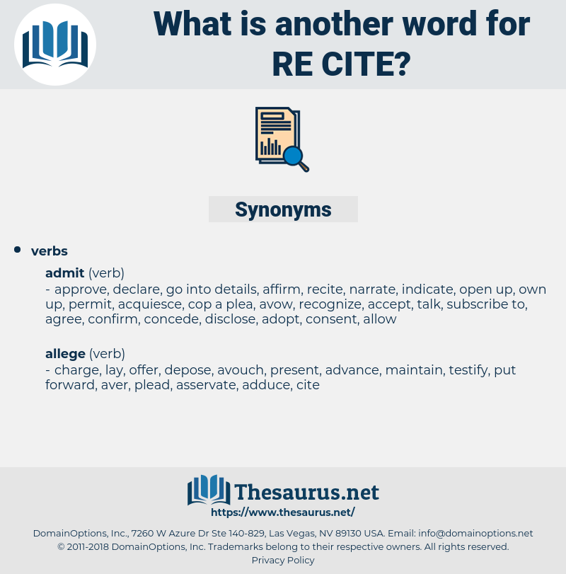 re cite, synonym re cite, another word for re cite, words like re cite, thesaurus re cite