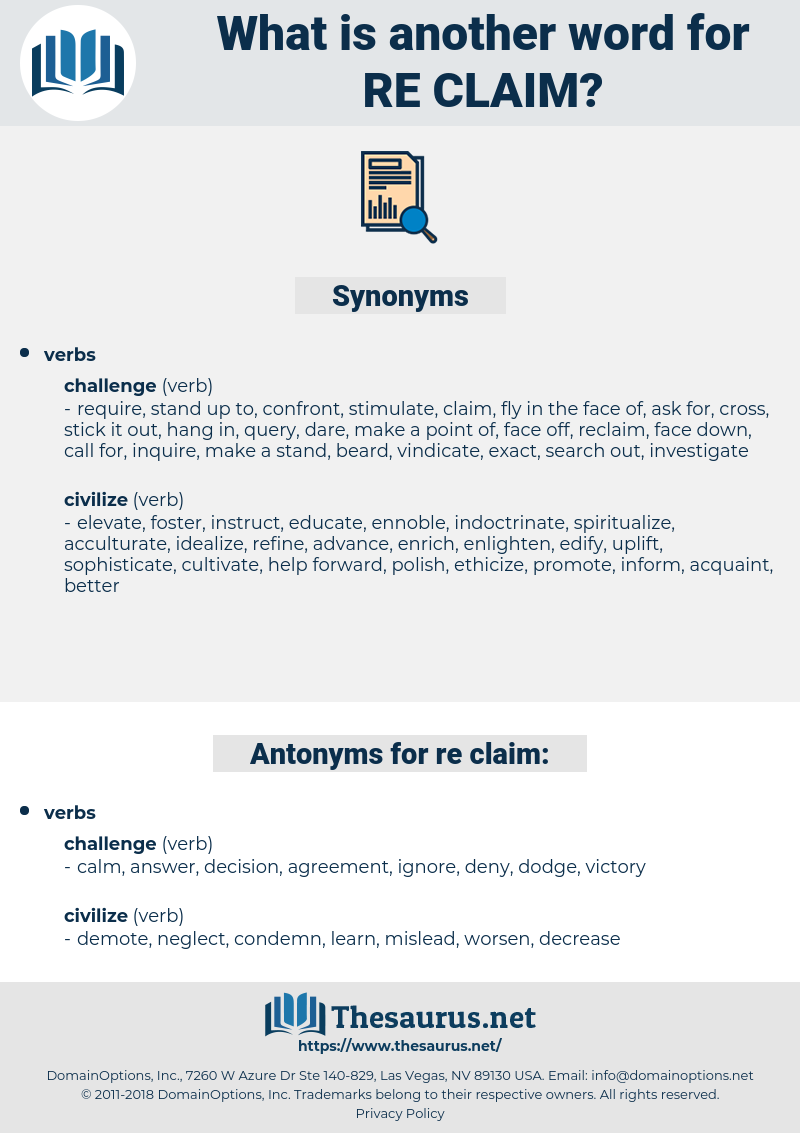re claim, synonym re claim, another word for re claim, words like re claim, thesaurus re claim
