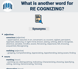 re cognizing, synonym re cognizing, another word for re cognizing, words like re cognizing, thesaurus re cognizing