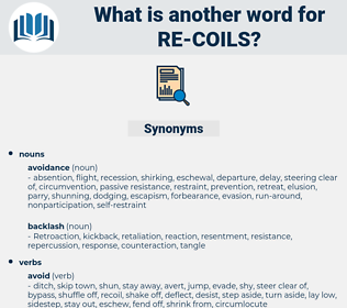 re coils, synonym re coils, another word for re coils, words like re coils, thesaurus re coils