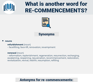 re-commencements, synonym re-commencements, another word for re-commencements, words like re-commencements, thesaurus re-commencements