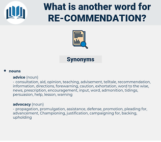 re-commendation, synonym re-commendation, another word for re-commendation, words like re-commendation, thesaurus re-commendation