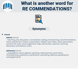 re commendations, synonym re commendations, another word for re commendations, words like re commendations, thesaurus re commendations