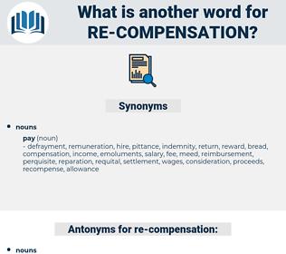 re-compensation, synonym re-compensation, another word for re-compensation, words like re-compensation, thesaurus re-compensation