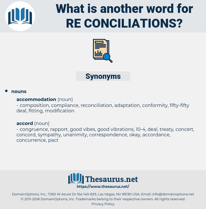 re-conciliations, synonym re-conciliations, another word for re-conciliations, words like re-conciliations, thesaurus re-conciliations