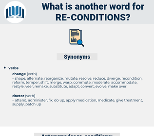 re-conditions, synonym re-conditions, another word for re-conditions, words like re-conditions, thesaurus re-conditions