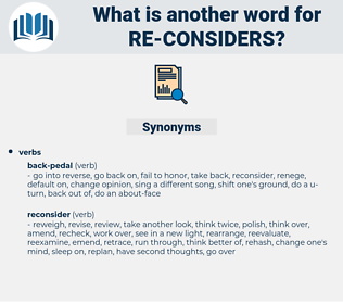 re-considers, synonym re-considers, another word for re-considers, words like re-considers, thesaurus re-considers