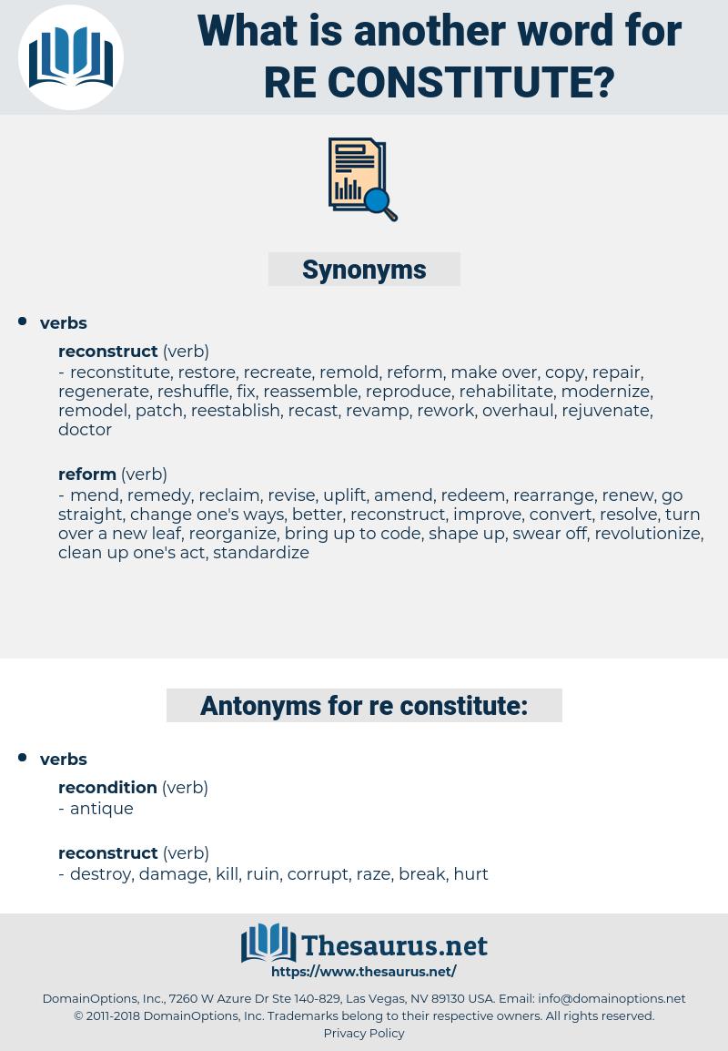 re-constitute, synonym re-constitute, another word for re-constitute, words like re-constitute, thesaurus re-constitute