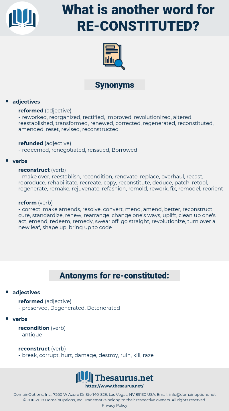 re constituted, synonym re constituted, another word for re constituted, words like re constituted, thesaurus re constituted