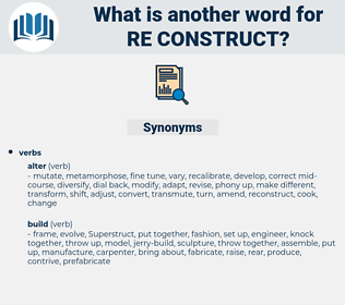 re construct, synonym re construct, another word for re construct, words like re construct, thesaurus re construct