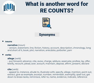re-counts, synonym re-counts, another word for re-counts, words like re-counts, thesaurus re-counts