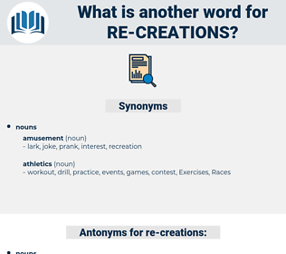 re-creations, synonym re-creations, another word for re-creations, words like re-creations, thesaurus re-creations