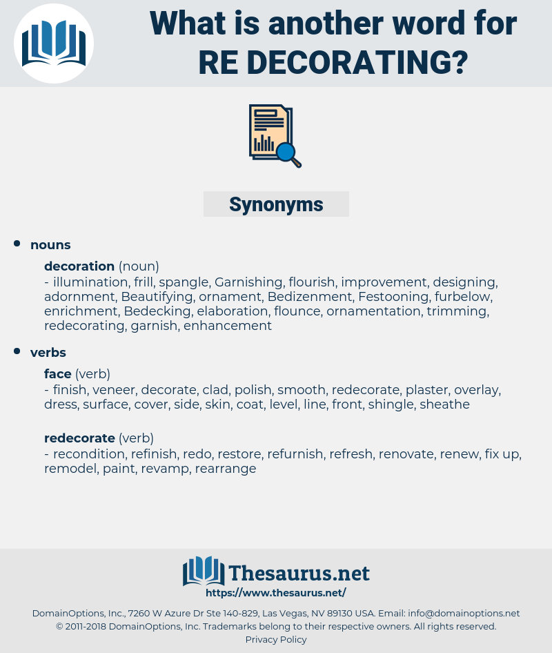 re-decorating, synonym re-decorating, another word for re-decorating, words like re-decorating, thesaurus re-decorating
