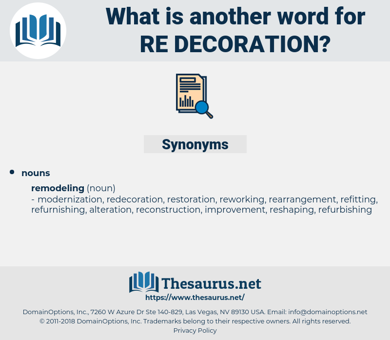 re-decoration, synonym re-decoration, another word for re-decoration, words like re-decoration, thesaurus re-decoration