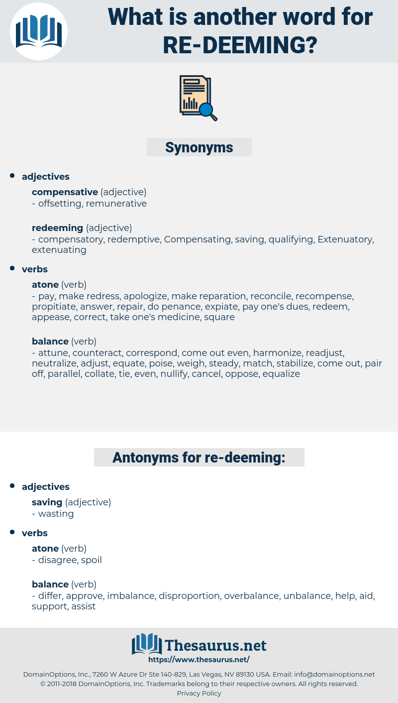 re-deeming, synonym re-deeming, another word for re-deeming, words like re-deeming, thesaurus re-deeming