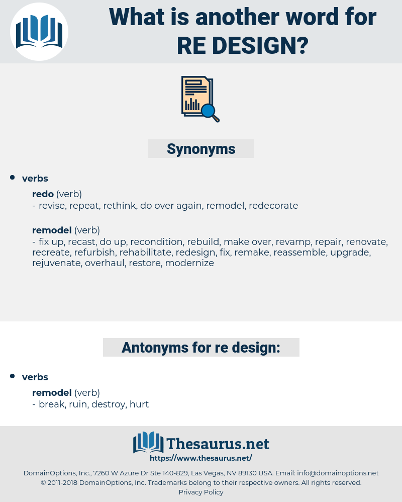re-design, synonym re-design, another word for re-design, words like re-design, thesaurus re-design